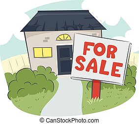 House and Lot For Sale - Illustration of a For Sale Sign in...