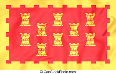 Flag of Greater Manchester, England. - 3D Flag of Greater...