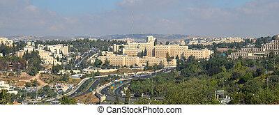 panorama, jerusalén, moderno, vista