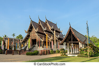 Beautiful Thai Lanna wooden temple - Ancient wooden teak...