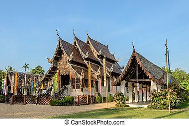 Beautiful Thai Lanna wooden temple - Ancient wooden teak...