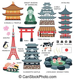 Japan travel elements collection - lovely Japan travel...
