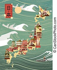 retro Japan travel poster with rogue waves - Japan country...