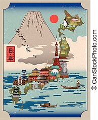 retro Japan travel poster with fuji mountain - Japan country...