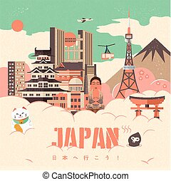 adorable Japan travel poster design - Go to Japan in...