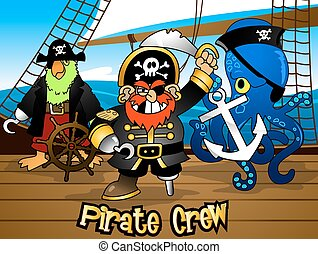Pirate crew with the Captain on a ship deck