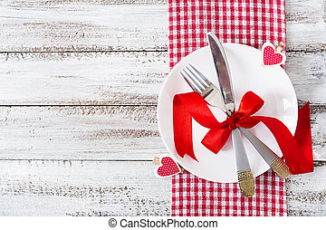 Romantic table setting for Valentines day in a rustic style...