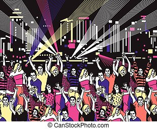 Disco open air party crowd young people dance color Color...