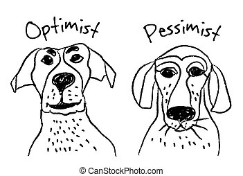 Dog faces emotions optimism pessimism. Color vector...