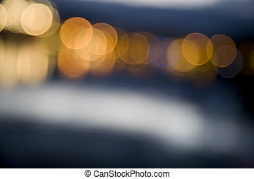 Abstract city lights at night out of focus