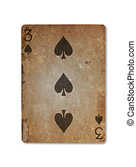 Very old playing card, three of spades - Very old playing...