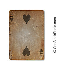 Very old playing card, two of hearts - Very old playing card...