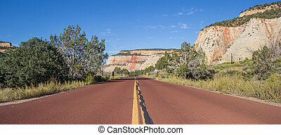 Red road through Zion National Park in Utah