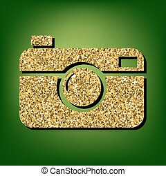 Golden shiny icon - Digital photo camera illustration....