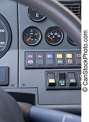 controls of the truck - the control panel of a huge truck