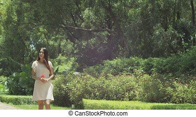 a beauty walking in nature