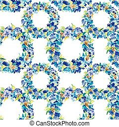Hand-drawn watercolor cornflowers background Vector pattern...
