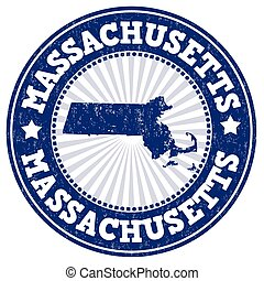 Massachusetts stamp - Grunge rubber stamp with the name and...