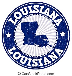 Louisiana stamp - Grunge rubber stamp with the name and map...