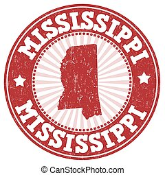 Mississippi stamp - Grunge rubber stamp with the name and...