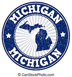 Michigan stamp - Grunge rubber stamp with the name and map...