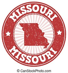 Missouri stamp - Grunge rubber stamp with the name and map...