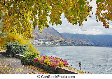 Panoramic view of Lake Geneva and Alps, Montereux, canton of...