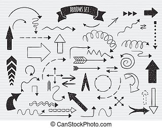 Doodle set of arrows. - Hand drawn arrows sketched style....