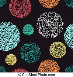 Seamless pattern with scribbles circles. - Vector abstract...