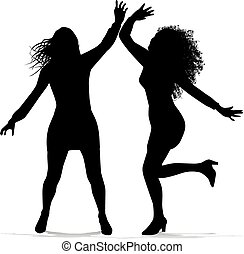 Siluetas, bailando, mujeres