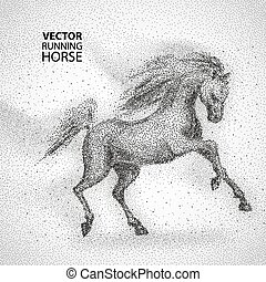 Running horse, particles design - Running horse Particles...