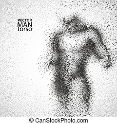 Man torso. Graphic drawing with black particles