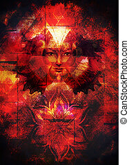 vacker, fjäril, gudinna, kvinna, ögon, Phoenix, ornamental,...