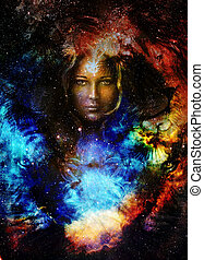 Goodnes woman and lion and bird in space with galaxi and...