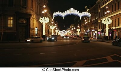Nevsky Avenue at night - Nevsky Avenue St. Petersburg,...