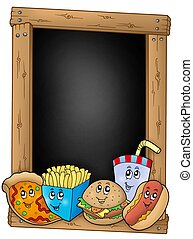 Blackboard with various cartoon meals - color illustration.