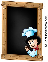 Blackboard with lurking woman chef - color illustration.