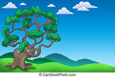 Landscape with big pine tree - color illustration.