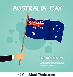 Hand Hold Australia Flag National Holiday Day Banner Flat...