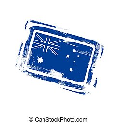 Australia Day Stamp Flag National Holiday Vector...