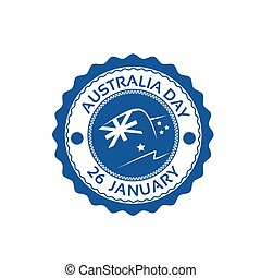 Australia Day Stamp Flag National Holiday Flat Vector...