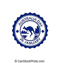 Australia Day Kangaroo Stamp Flag National Holiday Flat...