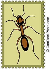 Ant on stamp - Illustration of the ant insect on postage...