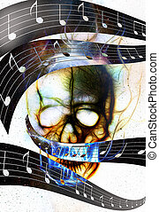 Skull and music note. Skull in fire flames. Color abstract...