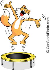 fox on a trampoline - vector illustration of a fox on a...