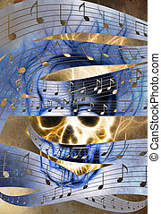 Skull and music note Skull in fire flames Color abstract...