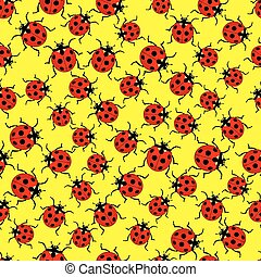 Ladybug pattern - Seamless pattern of the various ladybugs