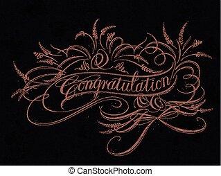 Congratulation calligraphy design