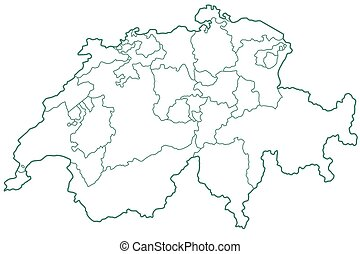 Switzerland - Silhouette contour border map of the...