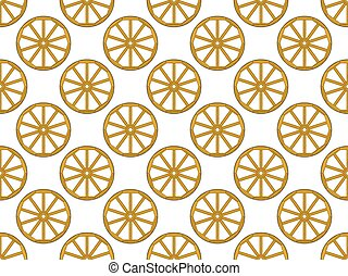 Wooden wheel pattern - Seamless pattern of the old vintage...
